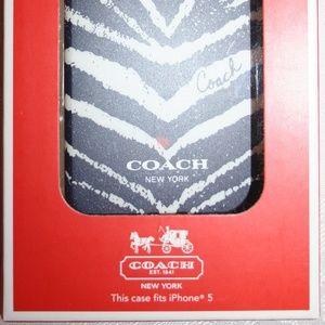 COACH SOLID IPHONE 5 HARD CASE ZEBRA DESERT SKY